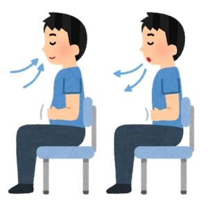 腹式呼吸(イスに座って)