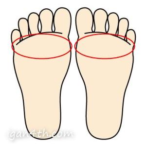 足の裏(指のつけ根)